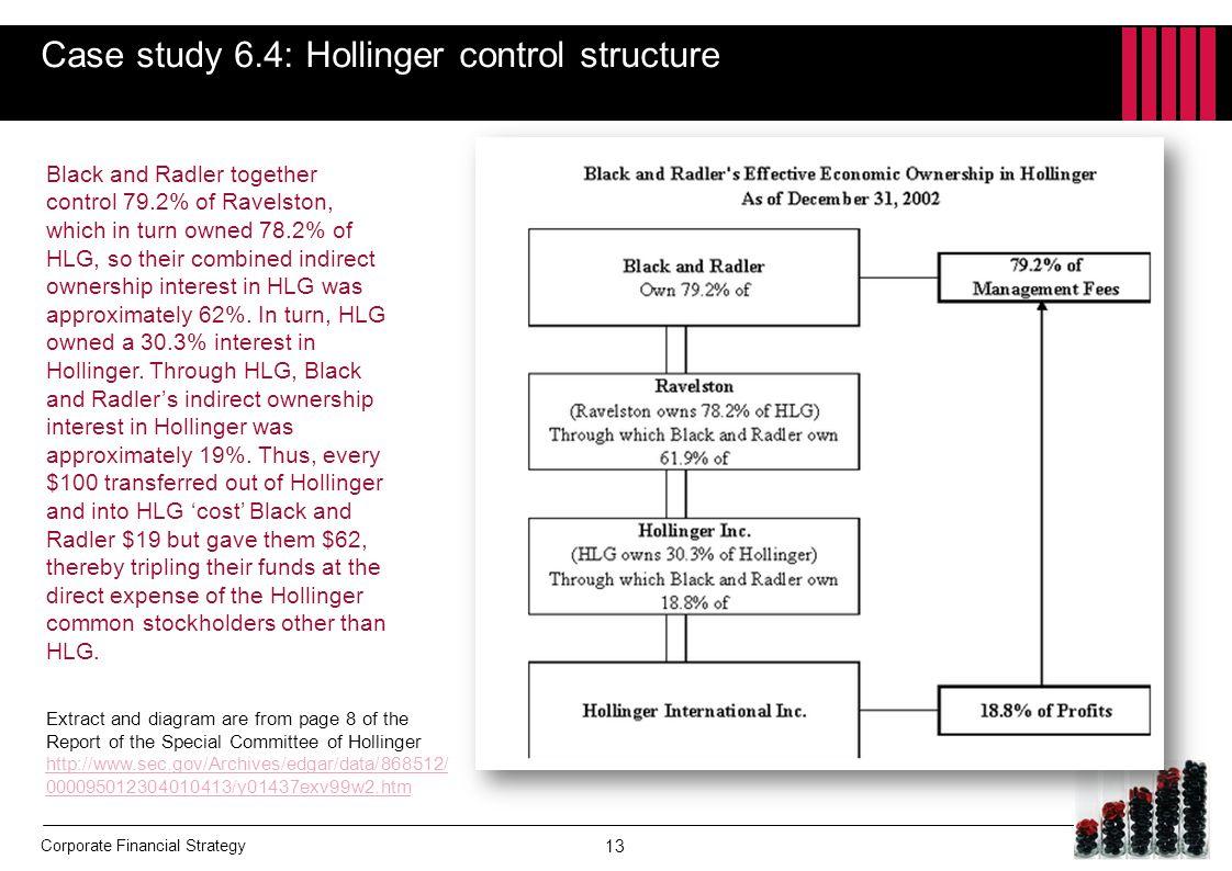 Case study 6.4: Hollinger control structure