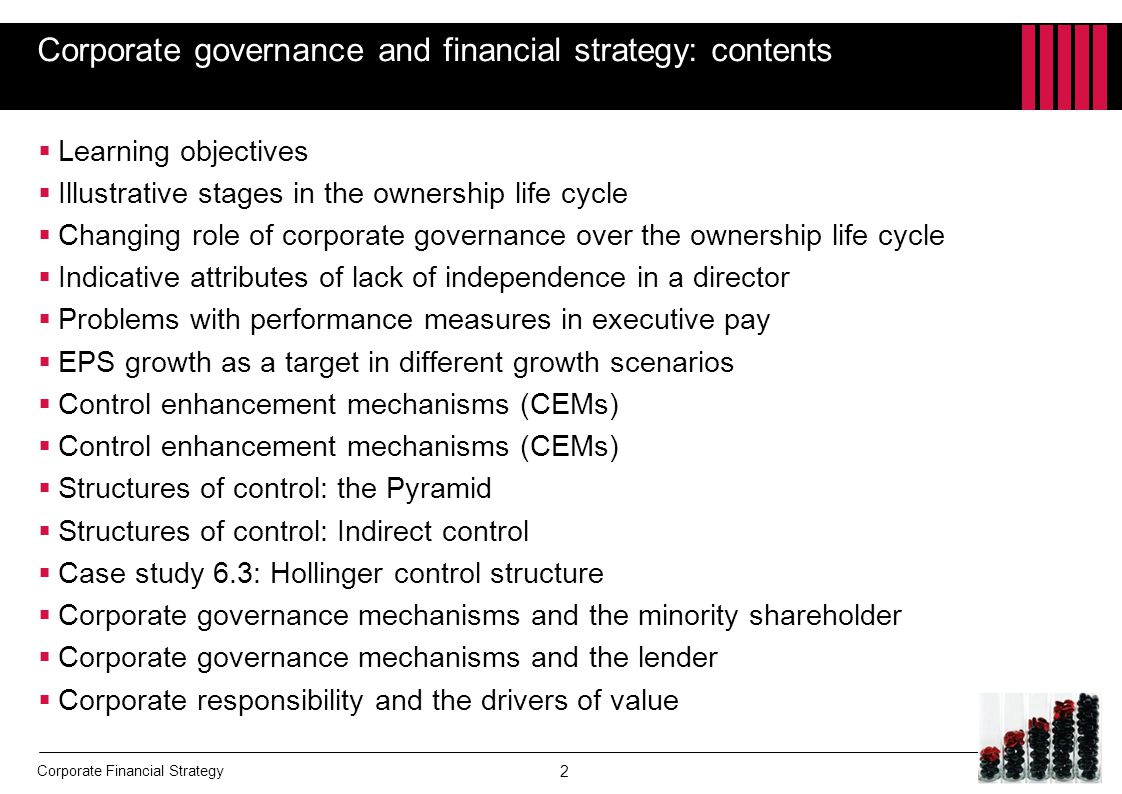Corporate governance and financial strategy: contents