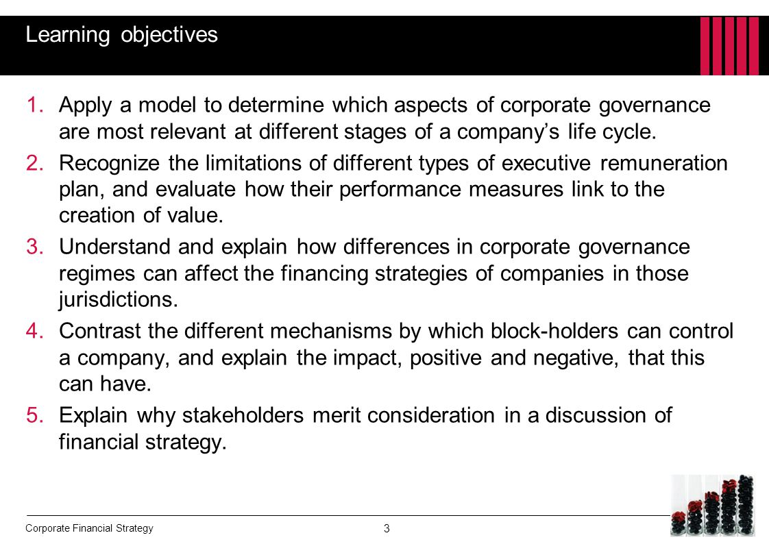 Learning objectives Apply a model to determine which aspects of corporate governance are most relevant at different stages of a company's life cycle.