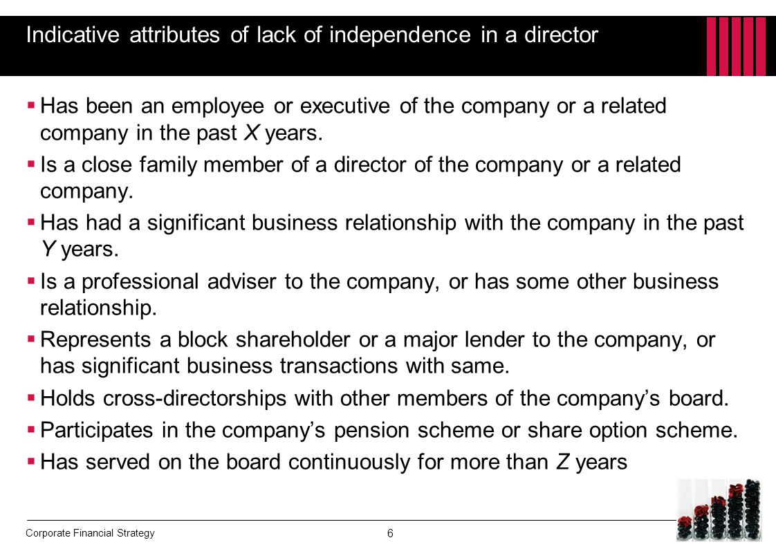 Indicative attributes of lack of independence in a director