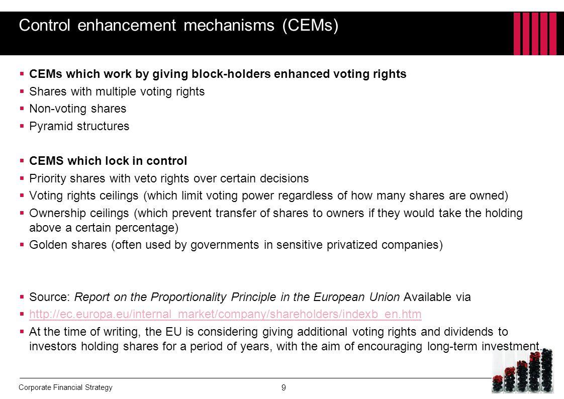 Control enhancement mechanisms (CEMs)