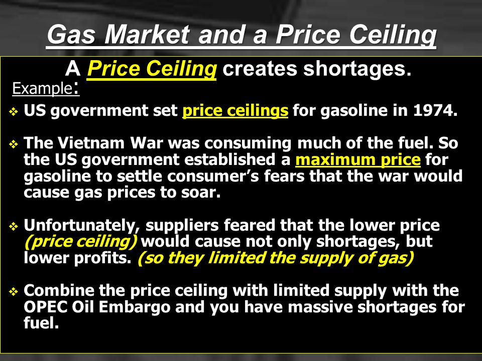 Gas Market and a Price Ceiling