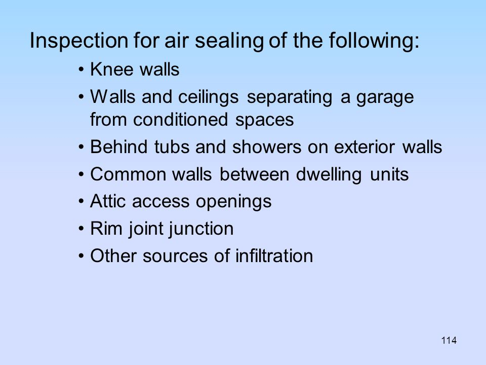 Inspection for air sealing of the following:
