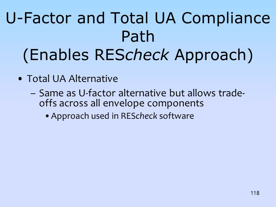 U-Factor and Total UA Compliance Path (Enables REScheck Approach)