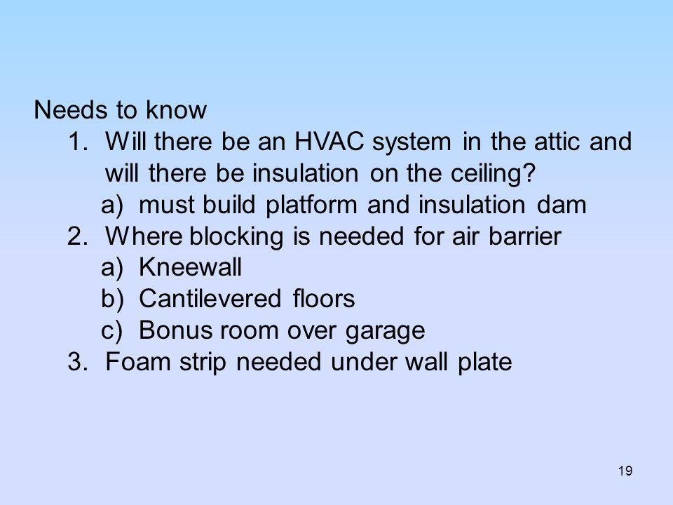 Needs to know Will there be an HVAC system in the attic and will there be insulation on the ceiling