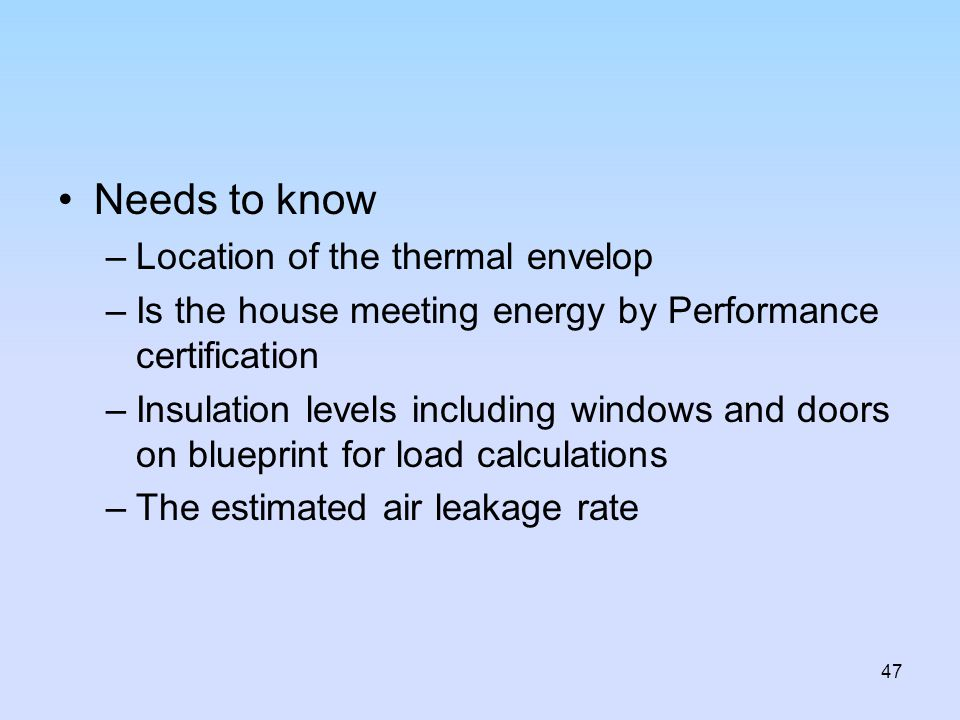 Needs to know Location of the thermal envelop