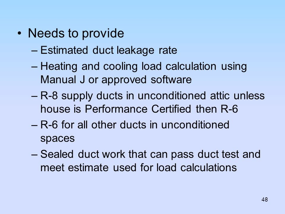 Needs to provide Estimated duct leakage rate