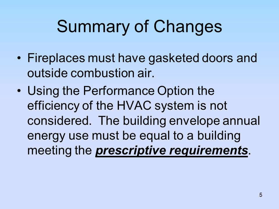 Summary of Changes Fireplaces must have gasketed doors and outside combustion air.
