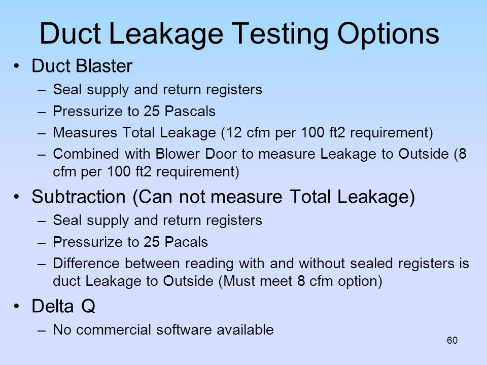 Duct Leakage Testing Options