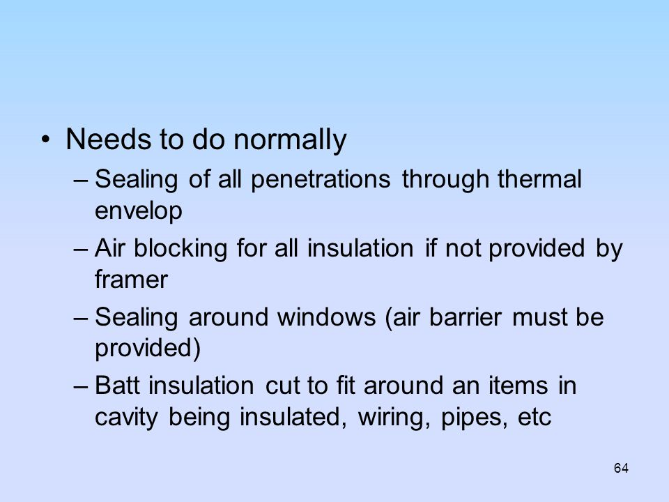 Needs to do normally Sealing of all penetrations through thermal envelop. Air blocking for all insulation if not provided by framer.