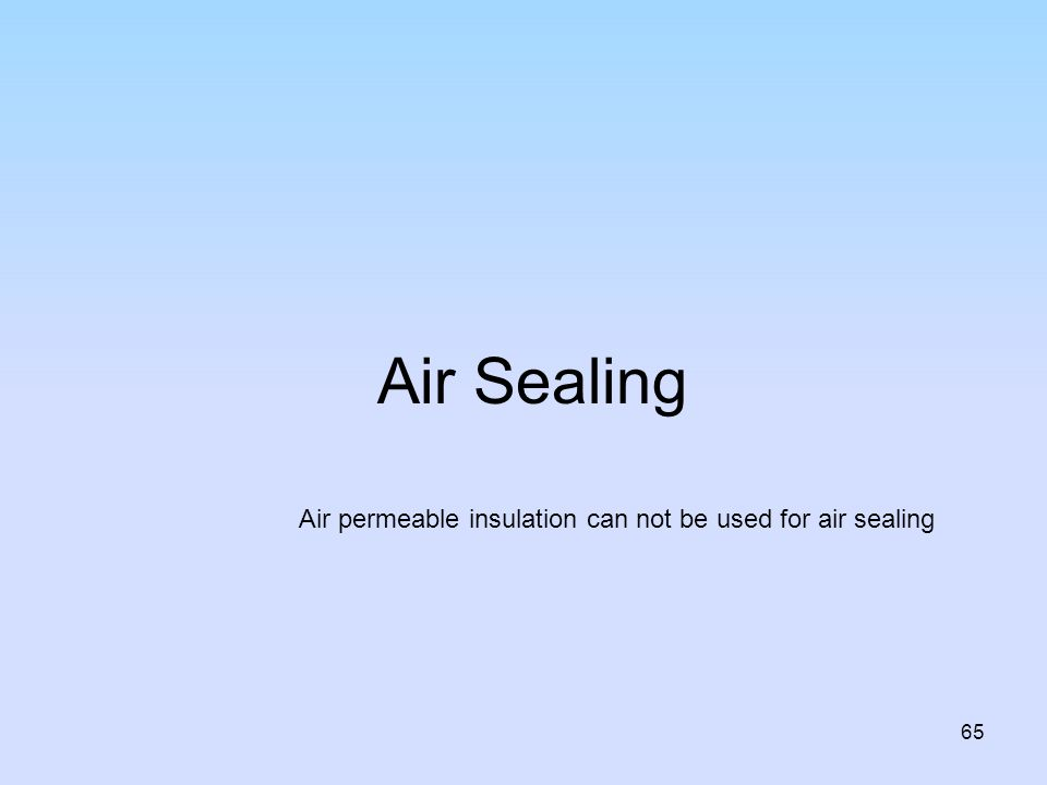 Air Sealing Air permeable insulation can not be used for air sealing