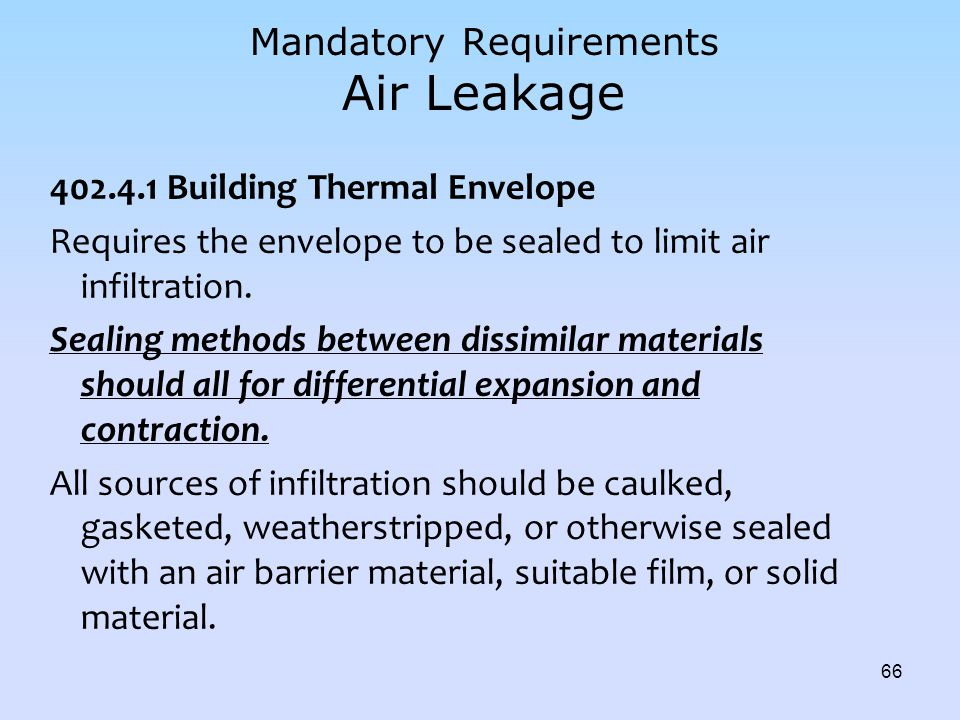 Mandatory Requirements Air Leakage