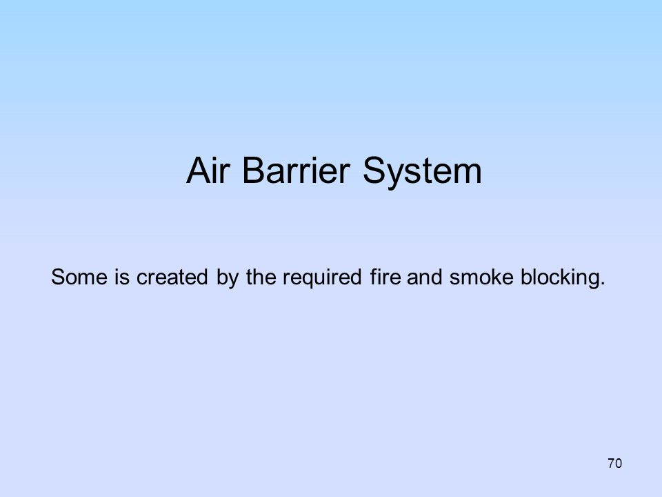 Air Barrier System Some is created by the required fire and smoke blocking. INSTRUCTOR.