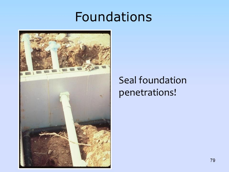Foundations Seal foundation penetrations! INSTRUCTOR:
