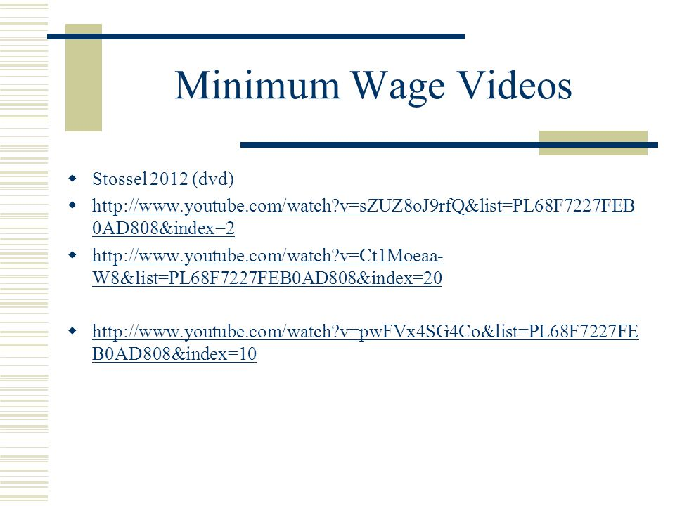 Minimum Wage Videos Stossel 2012 (dvd)