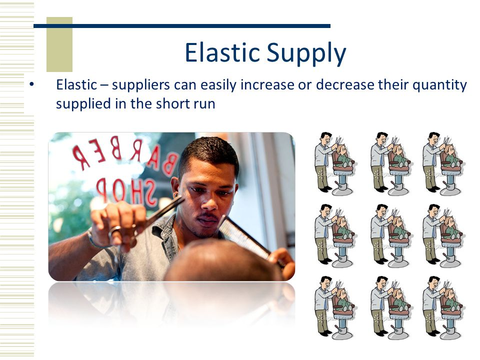 Elastic Supply Elastic – suppliers can easily increase or decrease their quantity supplied in the short run.
