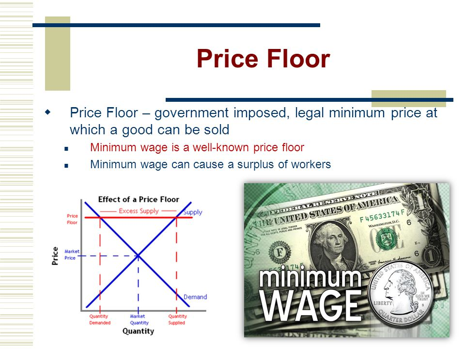 Price Floor Price Floor – government imposed, legal minimum price at which a good can be sold. Minimum wage is a well-known price floor.