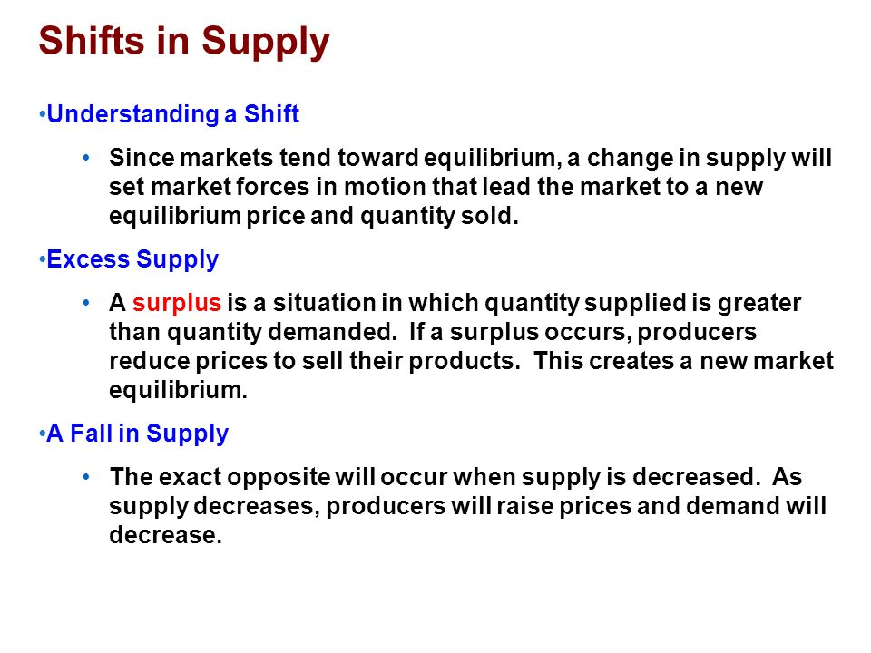 Shifts in Supply Understanding a Shift