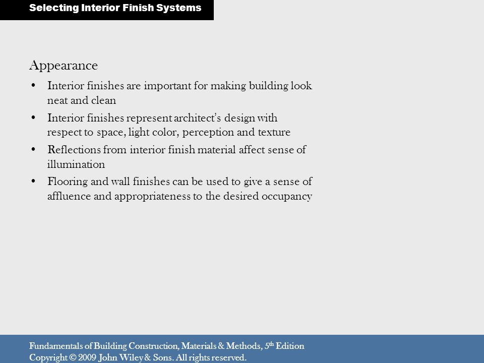 Selecting Interior Finish Systems