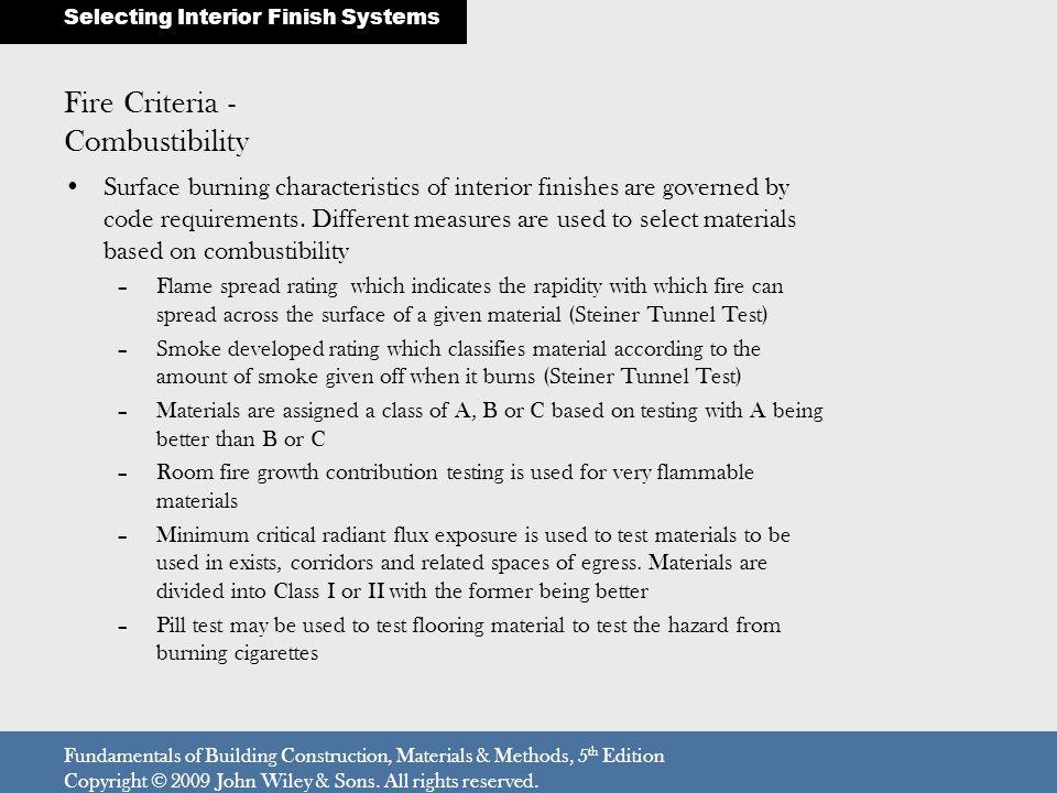 Fire Criteria - Combustibility