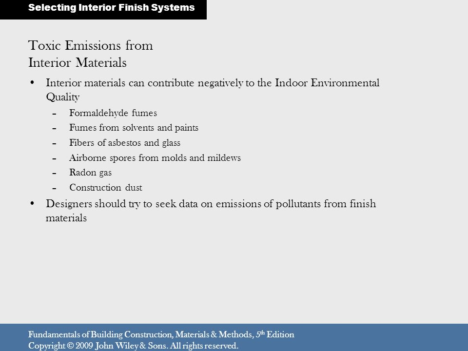 Toxic Emissions from Interior Materials