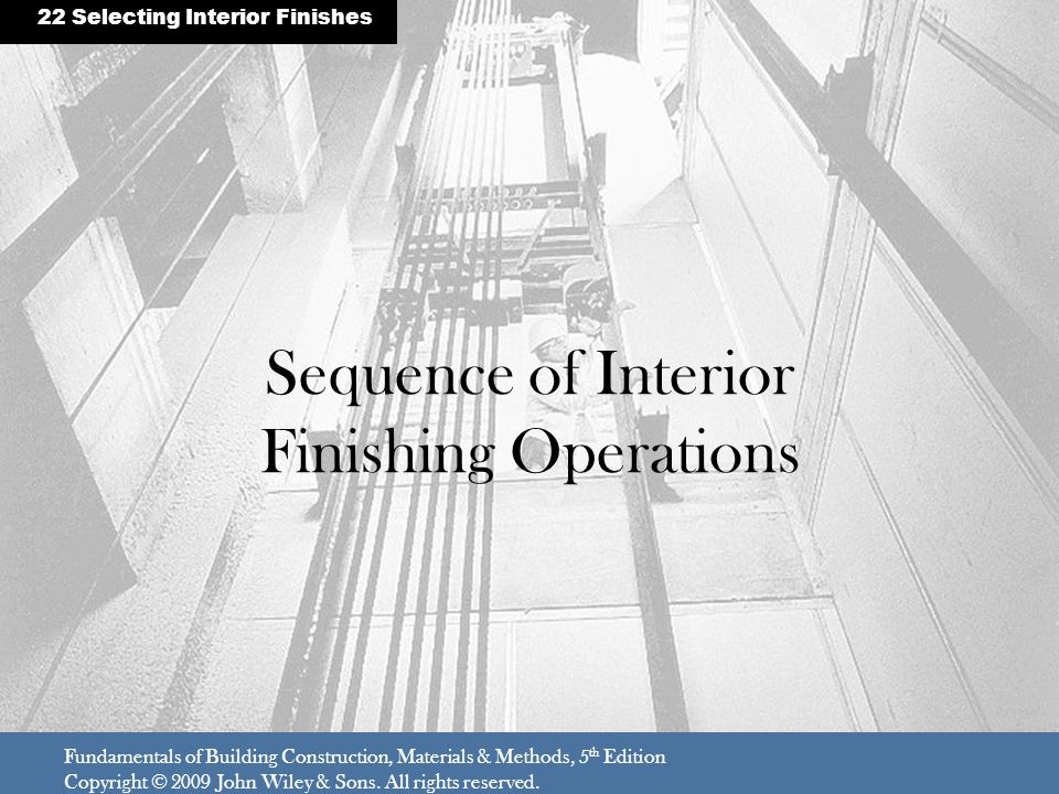 Sequence of Interior Finishing Operations