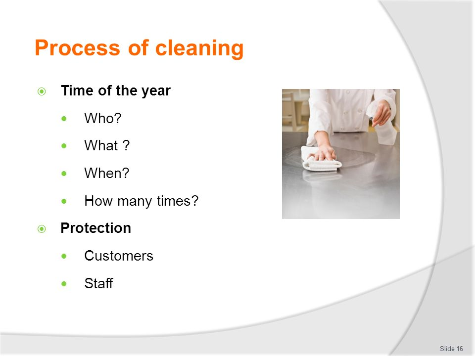 Process of cleaning Time of the year Who What When How many times