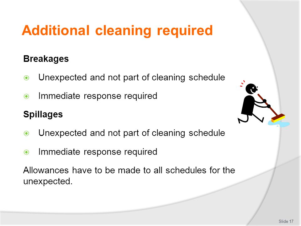 Additional cleaning required