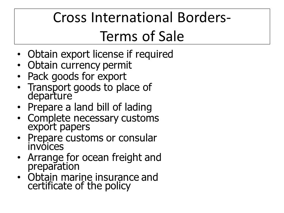 Cross International Borders- Terms of Sale