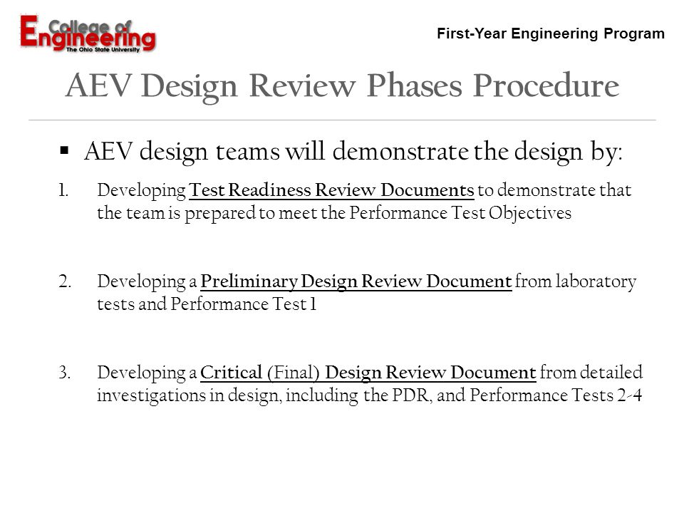 AEV Design Review Phases Procedure