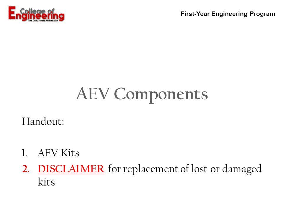 AEV Components Handout: AEV Kits