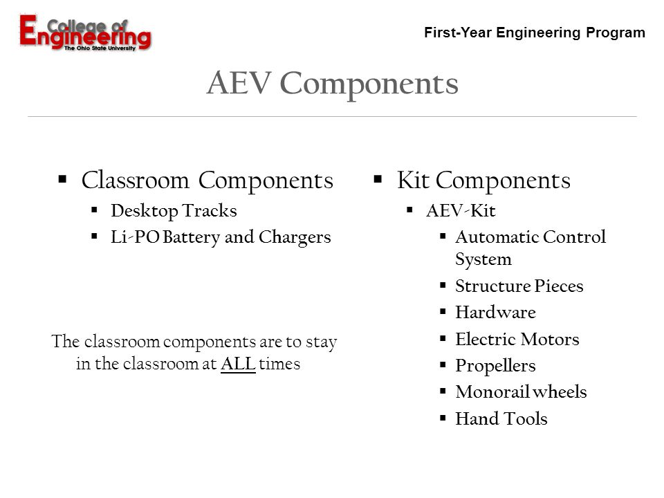 AEV Components Classroom Components Kit Components Desktop Tracks