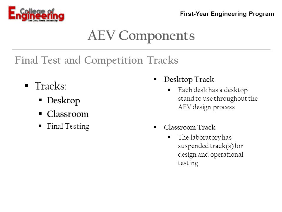 AEV Components Final Test and Competition Tracks Tracks: Desktop