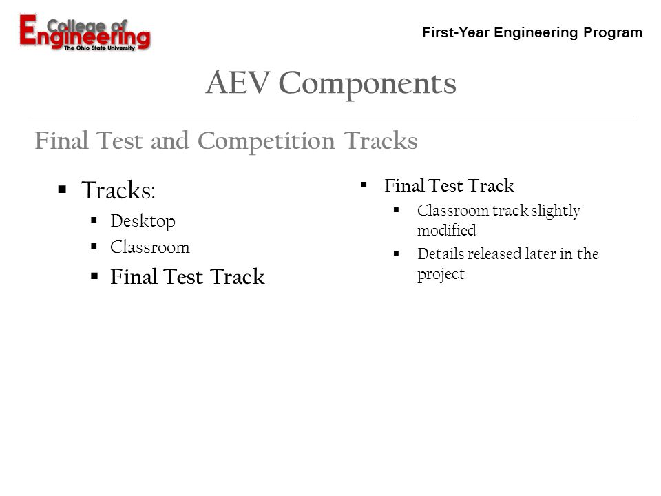 AEV Components Final Test and Competition Tracks Tracks: