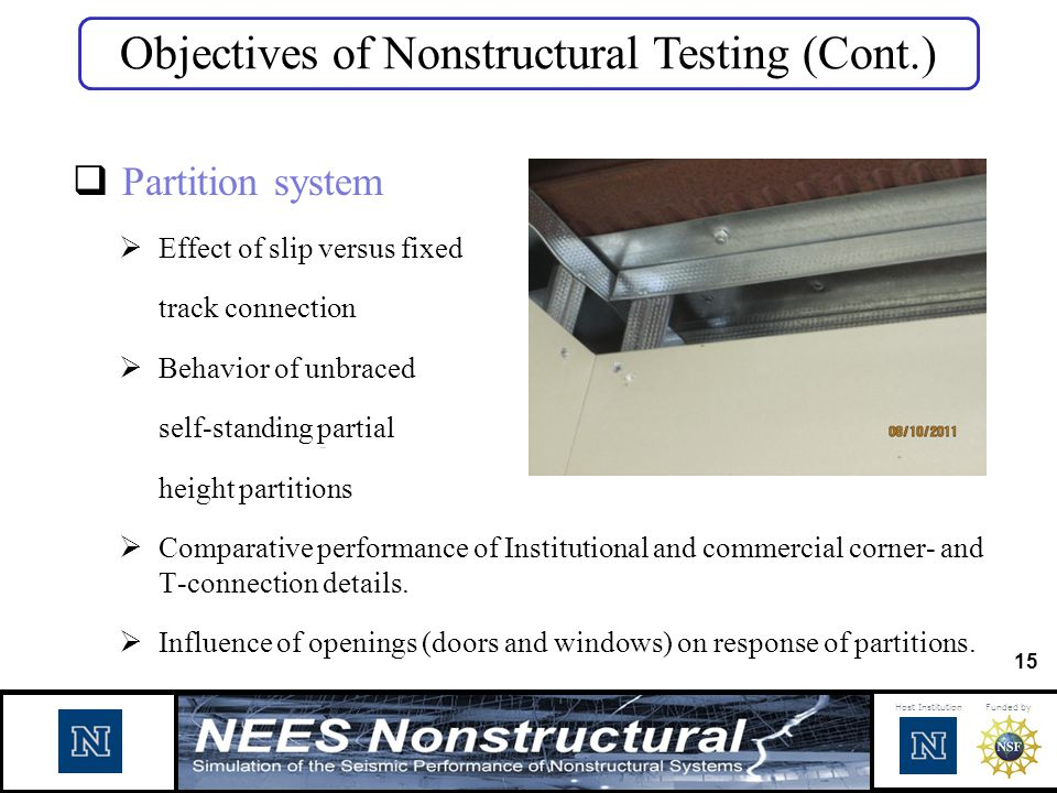 Objectives of Nonstructural Testing (Cont.)