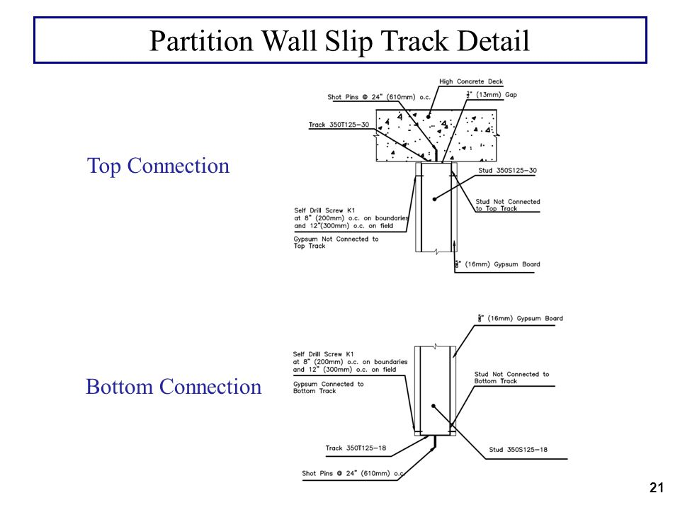 Partition Wall Slip Track Detail
