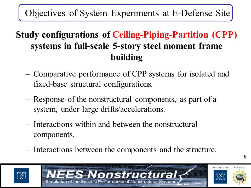 Objectives of System Experiments at E-Defense Site