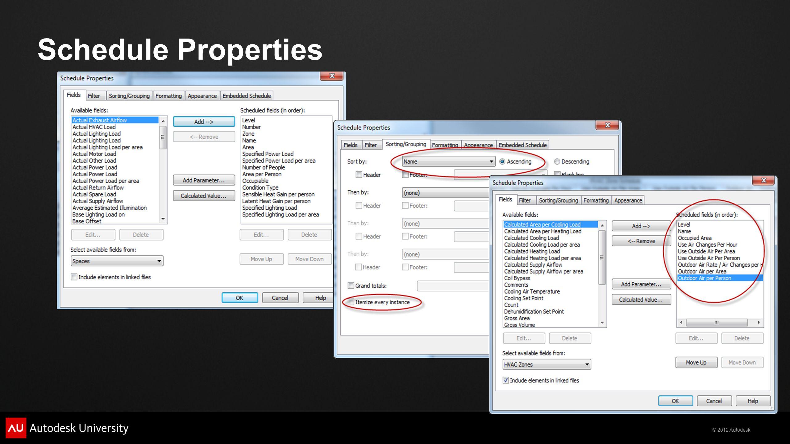 Schedule Properties