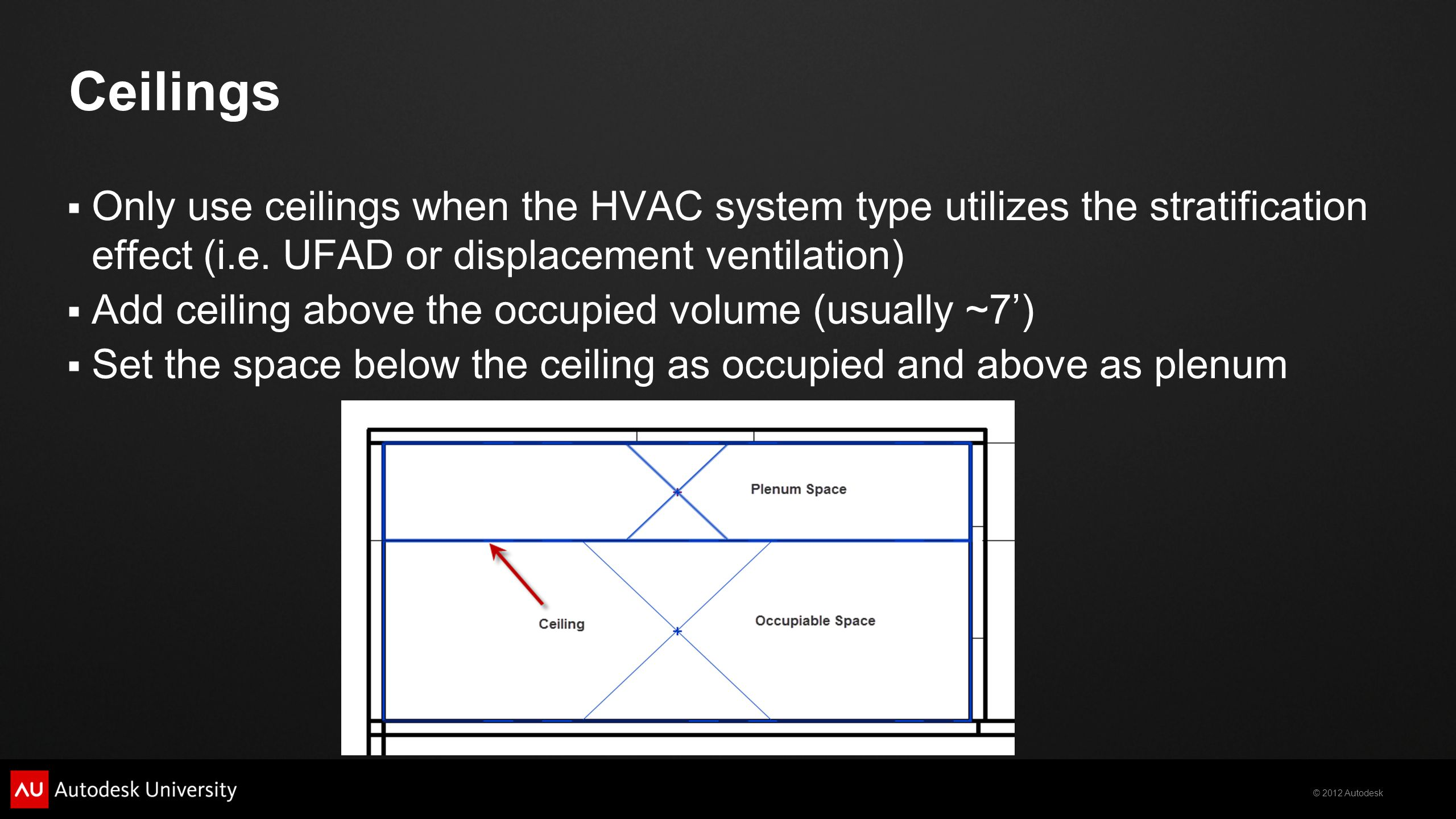 Ceilings Only use ceilings when the HVAC system type utilizes the stratification effect (i.e. UFAD or displacement ventilation)