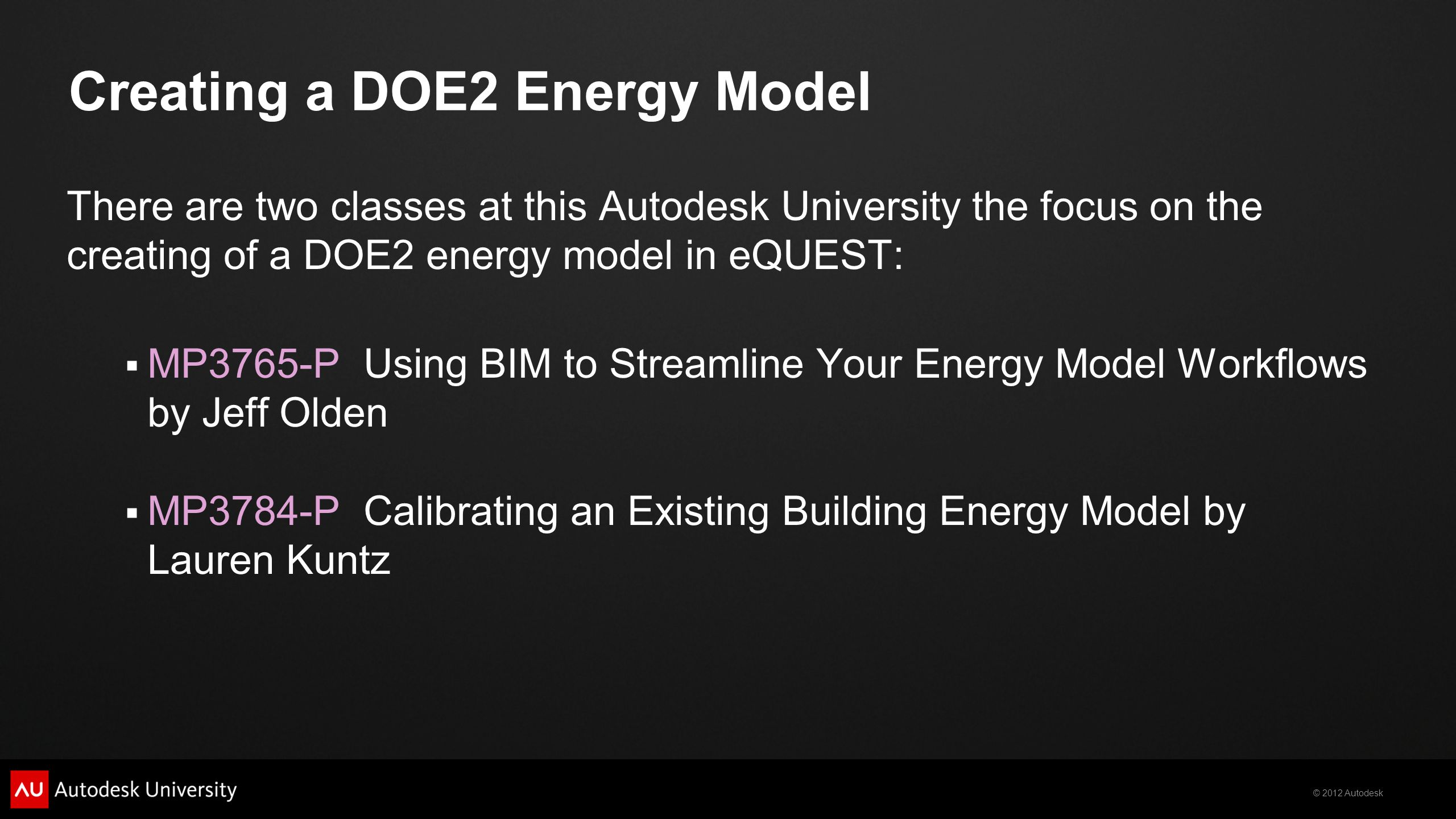 Creating a DOE2 Energy Model