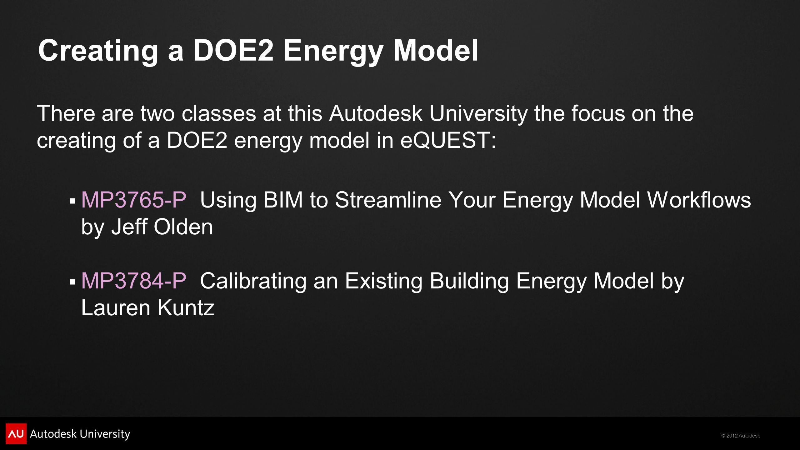 Creating a DOE2 Energy Model