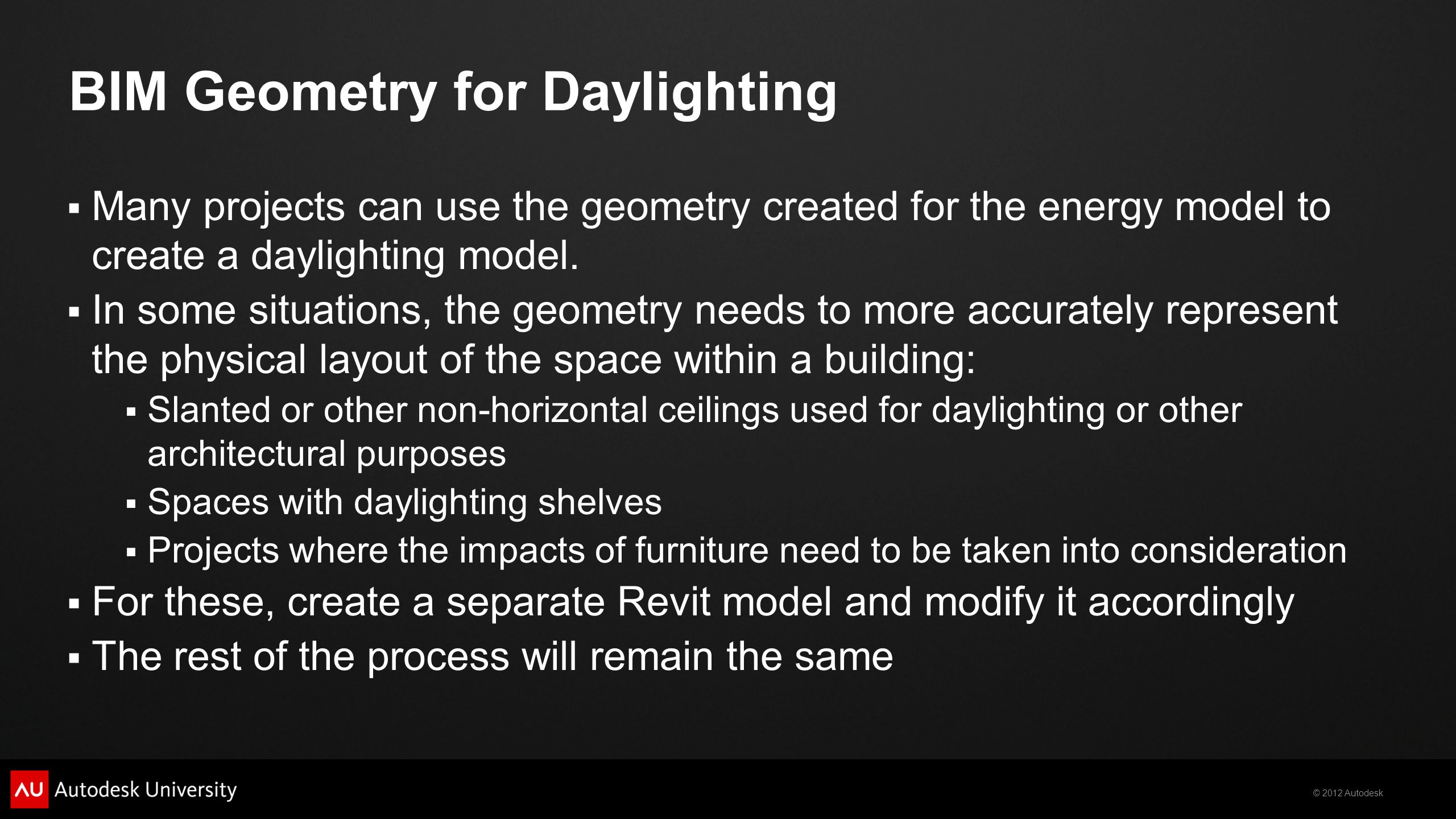 BIM Geometry for Daylighting