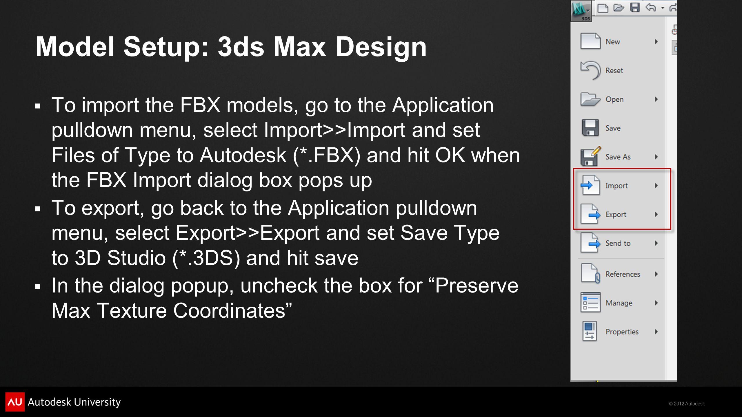 Model Setup: 3ds Max Design