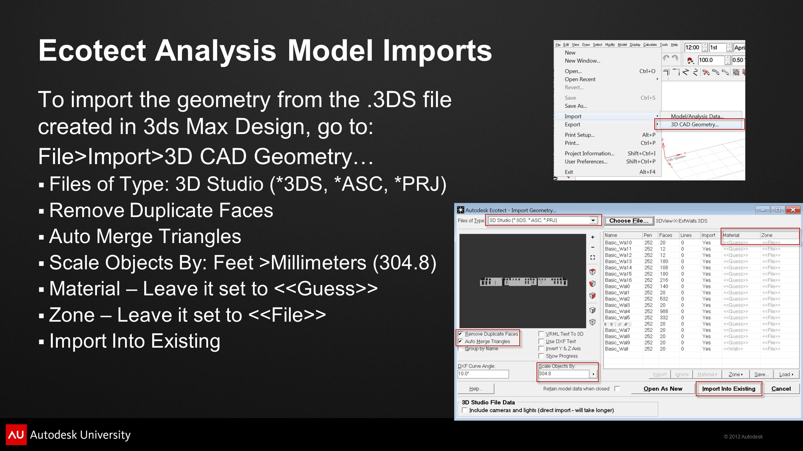 Ecotect Analysis Model Imports