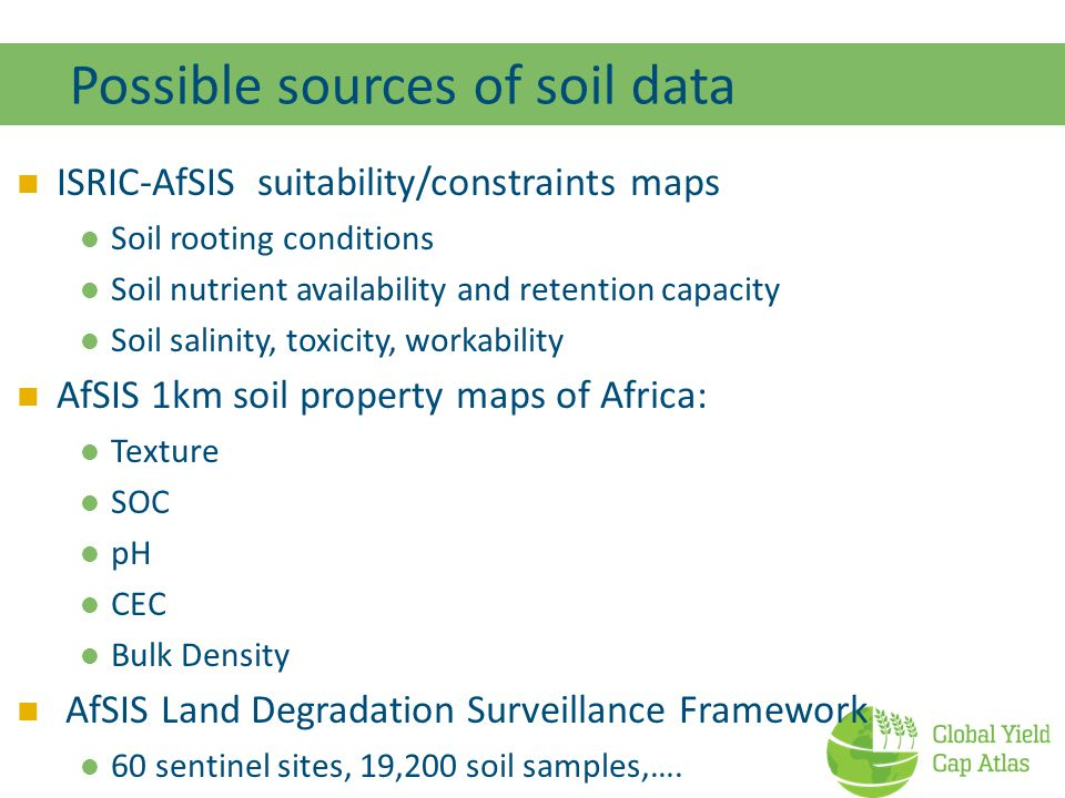 Possible sources of soil data