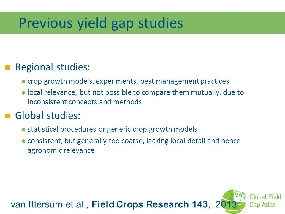 Previous yield gap studies