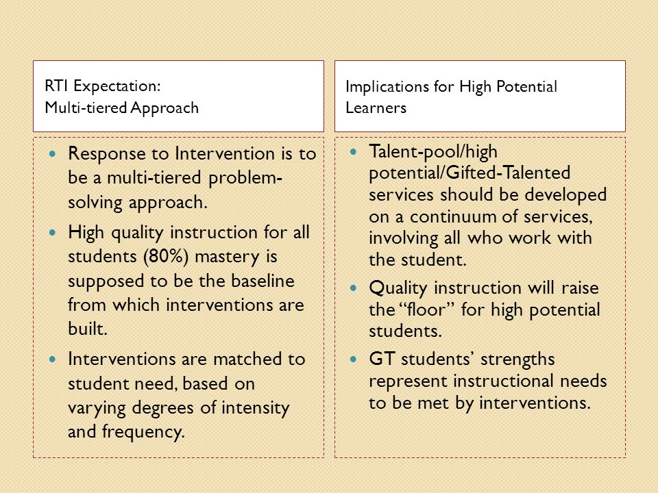 RTI Expectation: Multi-tiered Approach. Implications for High Potential Learners.