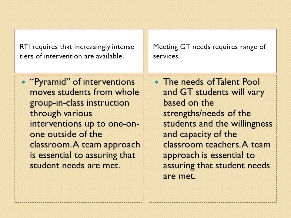 RTI requires that increasingly intense tiers of intervention are available.