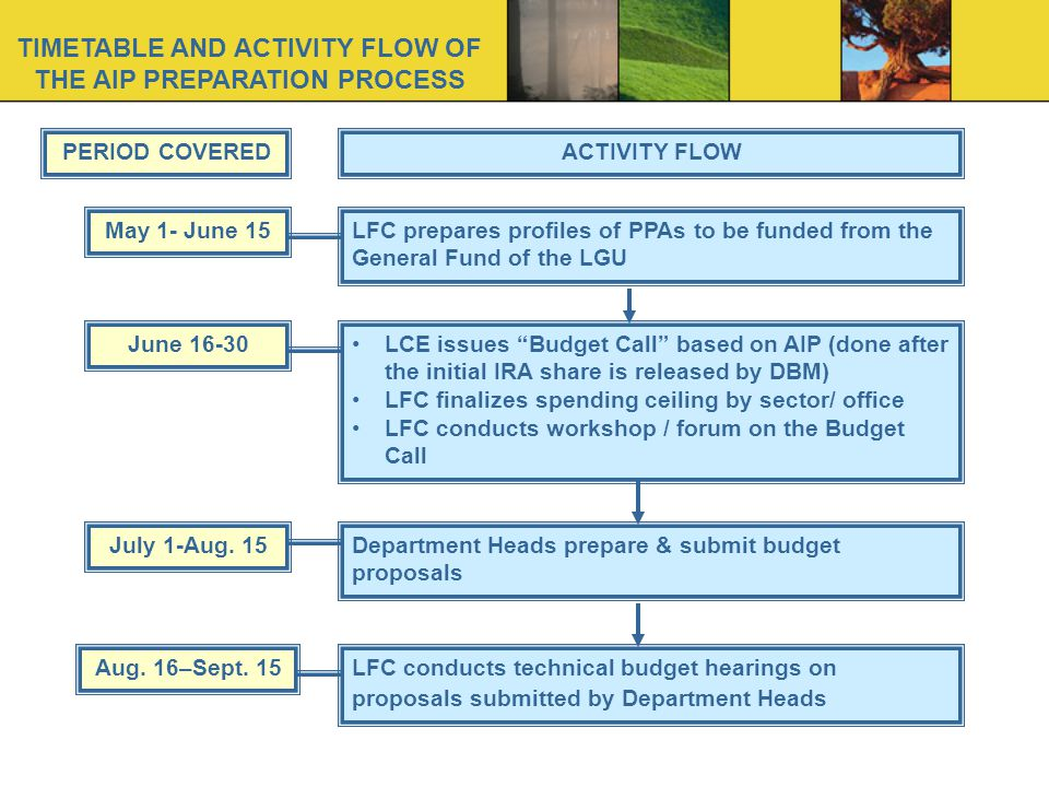 TIMETABLE AND ACTIVITY FLOW OF THE AIP PREPARATION PROCESS