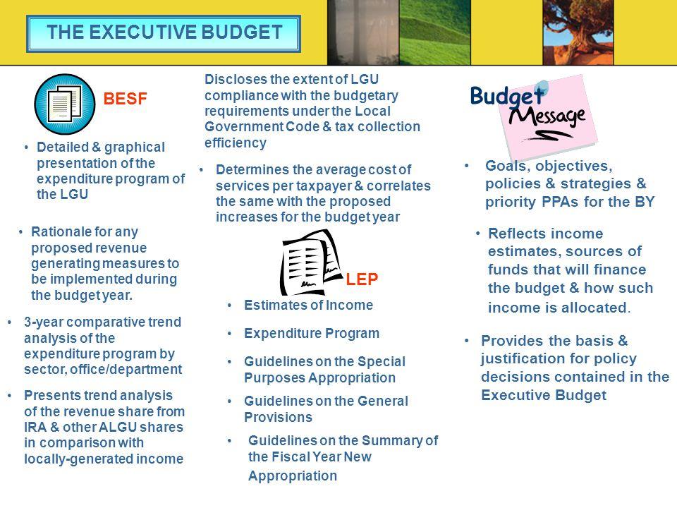 Budget THE EXECUTIVE BUDGET BESF LEP